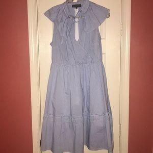 Eloquii Peter Pan Collar Striped Dress fit/flair